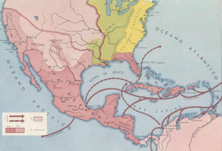 Mapa De Nueva España Siglo Xvi.Pais Global Mapas Colonizacion En America Del Norte